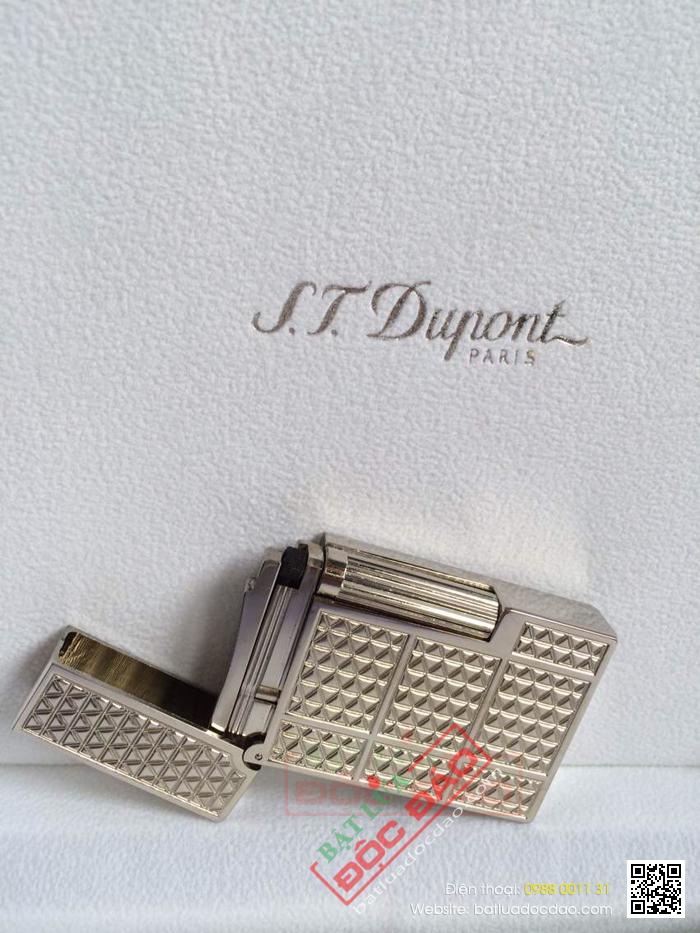 Bật lửa S.T.Dupont silver hoa văn tam giác nhỏ  - Mã SP: BLD077