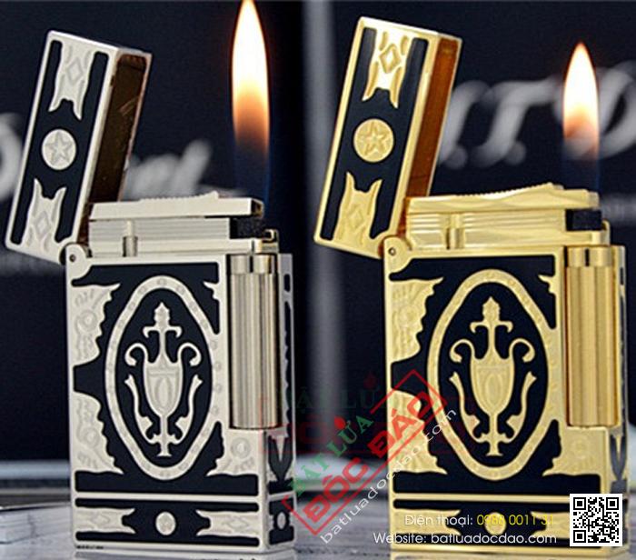 Bật lửa S.T.Dupont sơn mài đen hoa văn trắng bạc hoàng gia - Mã SP: BLD102