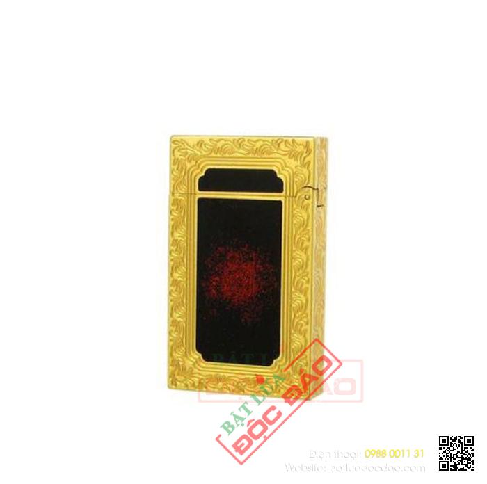 Bật lửa S.T.Dupont Sơn Mài Đen Nhũ Đỏ Viền Vàng Hoa Văn - Mã SP: BLD 109