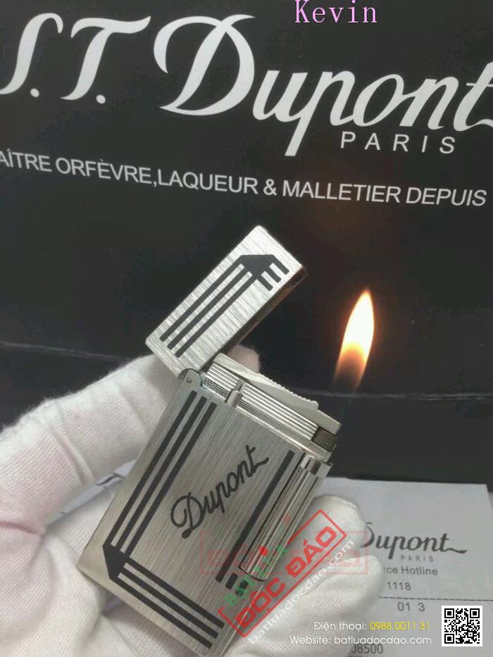 Bật lửa S.T.Dupont Màu Trắng Bạc Xước Viền Đen Khắc Chữ Dupont - Mã SP: BLD 115