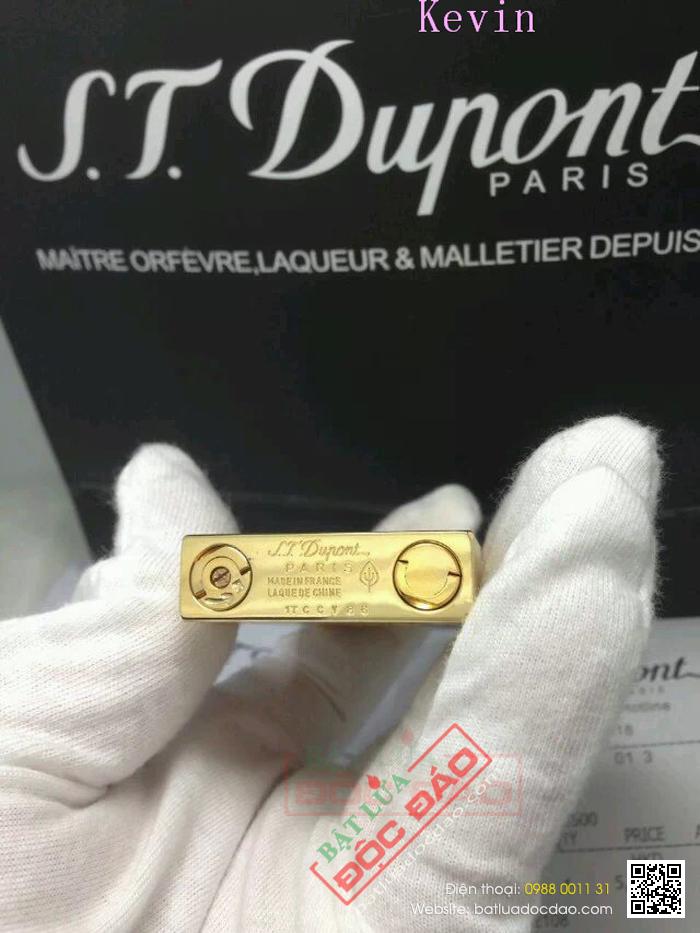 Bật lửa S.T.Dupont Màu Vàng Xước Viền Đen Khắc Chữ Dupont - Mã SP: BLD 116