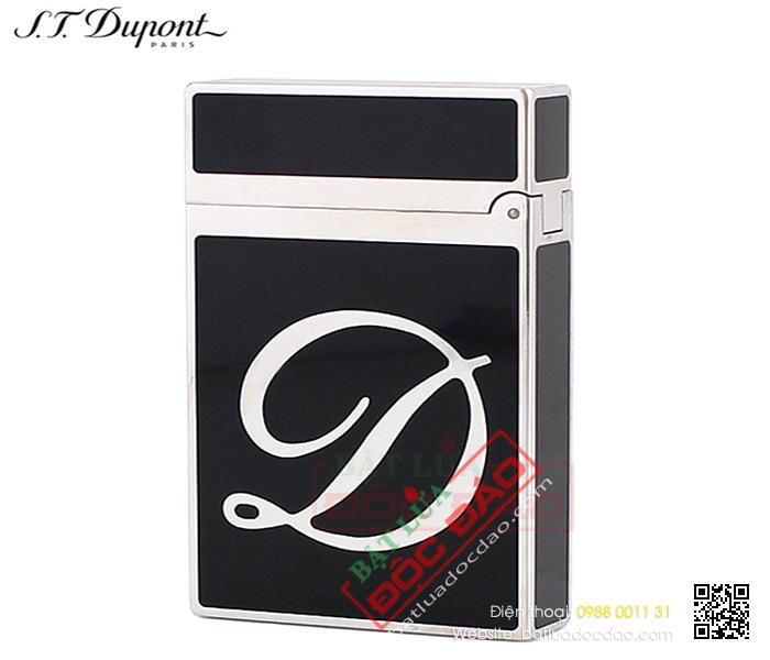 Bật lửa S.T.Dupont sơn mài đen viền trắng bạc khắc chữ S.T.Dupont chéo - Mã SP: BLD139
