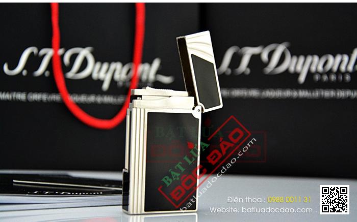 Bật lửa S.T.Dupont sơn mài đen viền trắng bạc vát cạnh - Mã SP: BLD140