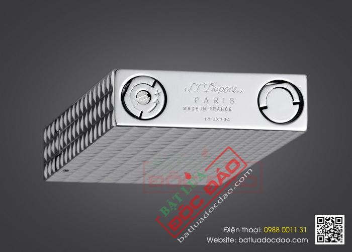 Bật lửa S.T.Dupont màu trắng bạc vân kim cương to nhỏ - Mã SP: BLD147