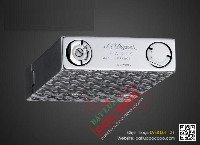 Bật lửa S.T.Dupont màu trắng bạc hoa văn chéo - Mã SP: BLD152