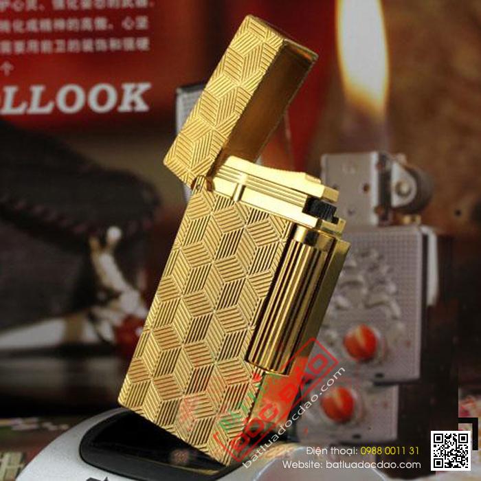 Bật lửa S.T.Dupont gold hoa văn hình khối - Mã SP: BLD149