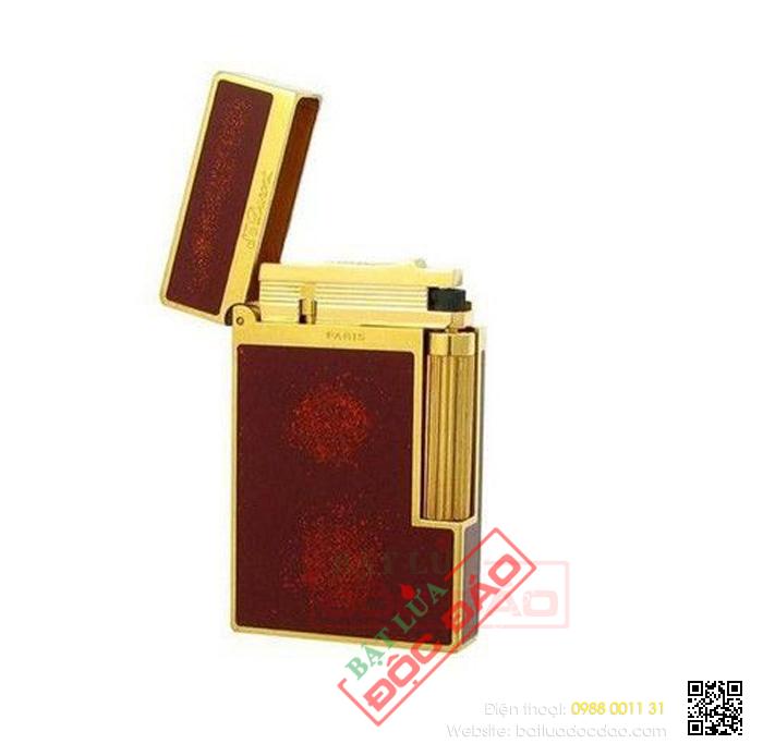 Bật lửa S.T.Dupont sơn mài đỏ viền vàng nhũ đỏ - Mã SP: BLD138