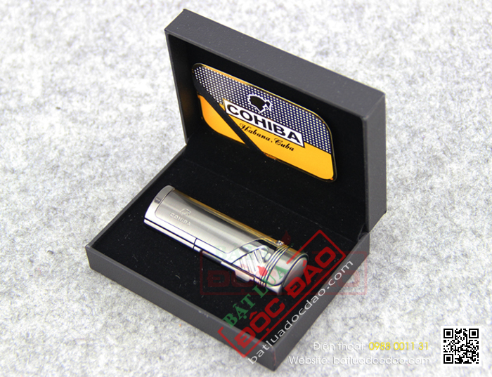 Bật lửa khò hút Cigar Cohiba chính hãng loại 4 tia lửa cực mạnh trang bị đục lỗ Cigar - Mã SP: BLH050