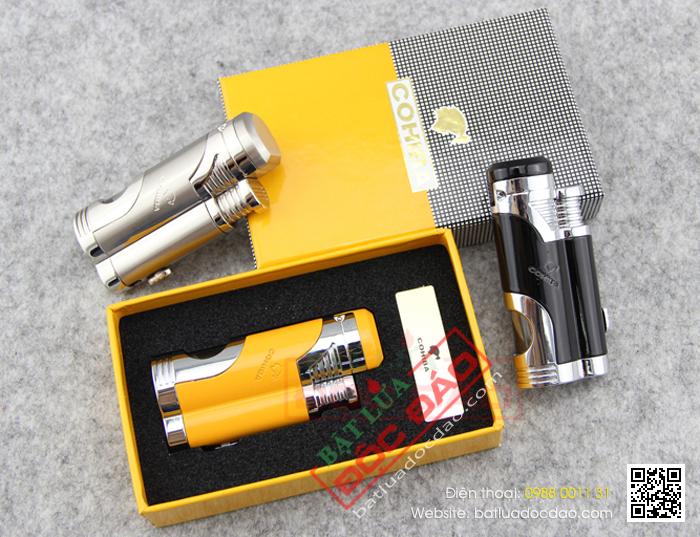 Bật lửa khò hút Cigar Cohiba chính hãng loại 2 tia lửa có thiết bị đục Xì gà - Mã SP: BLH052
