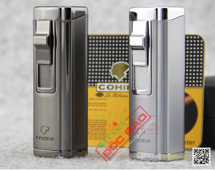 Bật lửa hút Cigar Cohiba chính hãng loại 3 tia lửa có thiết bị đục Cigar - Mã SP: BLH004