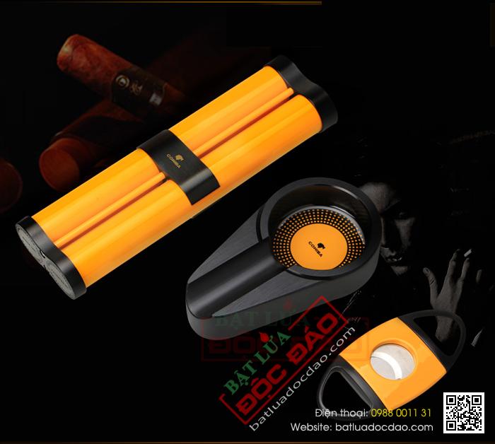 Set gạt tàn xì gà, ống đựng xì gà, dao cắt xì gà Cohiba cao cấp - Mã SP: HB-T306