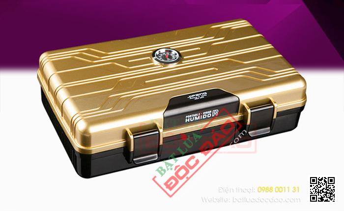Hộp giữ ẩm Cigar Humidor loại 10 điếu kiểu dáng vali - Mã SP: PC081