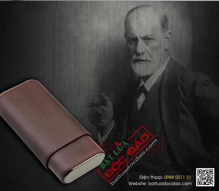 Bao da đựng xì gà 3 điếu Xikar màu nâu cao cấp P303 (quà tặng sếp)