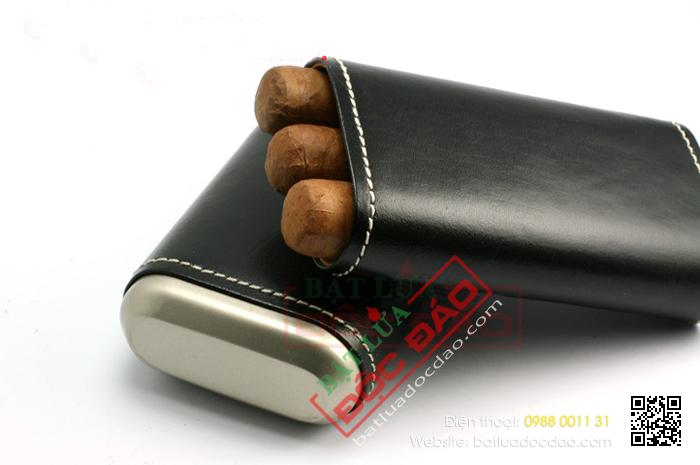 Bao da đựng Cigar Xikar loại 3 điếu màu đen chính hãng - Mã SP: 243BK