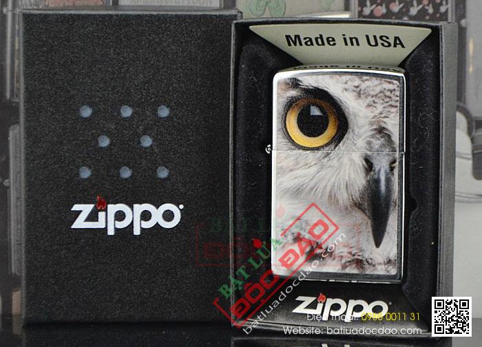 Bật lửa Zippo Mỹ in hình mắt cú - Mã SP: Z005