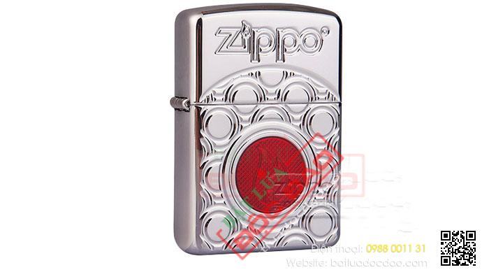 Bật lửa Zippo Mỹ khắc hình elip ngọn lửa đỏ - Mã SP: Z030