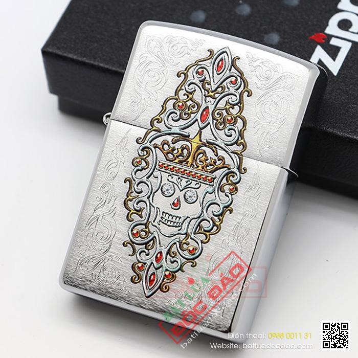 Bật lửa Zippo Mỹ vương miện Skull - Mã SP: Z062B