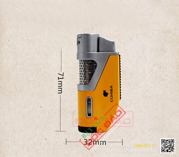 Bật lửa khò hút Cigar Cohiba chính hãng loại 1 tia lửa khò có vách kính soi gas - Mã SP: BLH098